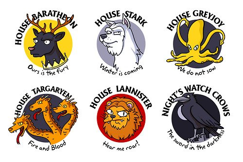 "To complete the first ""Game Of Thrones"" series I've done, here are the emblems of the Houses.  / Simpsonized by ADN"